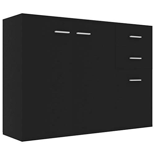 vidaXL Sideboard mit 2 Türen 3 Schubladen Highboard Kommode Standschrank Mehrzweckschrank Anrichte Schrank Schwarz 105x30x75cm Spanplatte