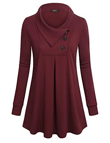 VAFOLY Lange Tuniken für Damen zu Leggings, Button Down Dressy Blusen Shirts A-Linie Swing Pullover Loose Fit Flowy Comfy Blusen für Business Solide Weinrot XL