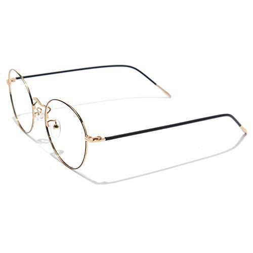CGID Runde Brille Ohne Sehstärke Fake Brillen für Damen Herren Brillengestelle Schmaler Rand Metallrahmen 2019 Neue Mode UV Schutz, 50mm