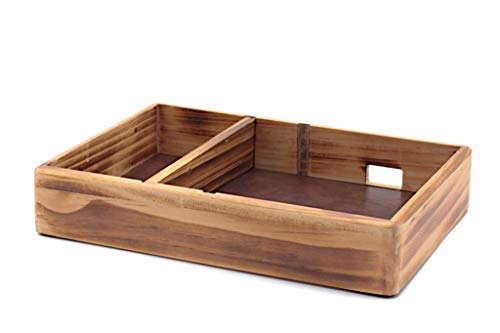 Solid Wood Valet Tray with PU Leather, Lightly Carbonized and Varnished Nightstand/Dresser Organizer