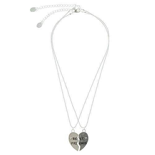 Claire's Matching Broken Heart Pendant Best Friends Necklaces, Silver Tone,...