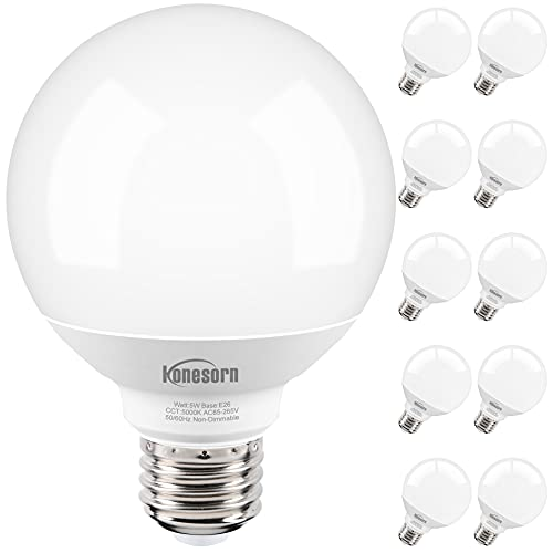 G25 Led Globe Light Bulbs,10 Pack,5W 60W Equivalent,5000K Daylight White,E26 Medium Base,Honesorn Vanity Light Bulbs for Bathroom,Makeup Mirror,Non-dimmable