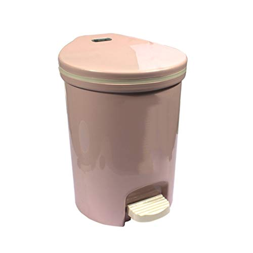 YIXIN2013SHOP Garbage Can Pedal-type Trash Can Home Living Room Bedroom Bathroom with Lid Pressure Ring Trash Can 16 Liters Trash Can (Color : Pink, Size : 16L)