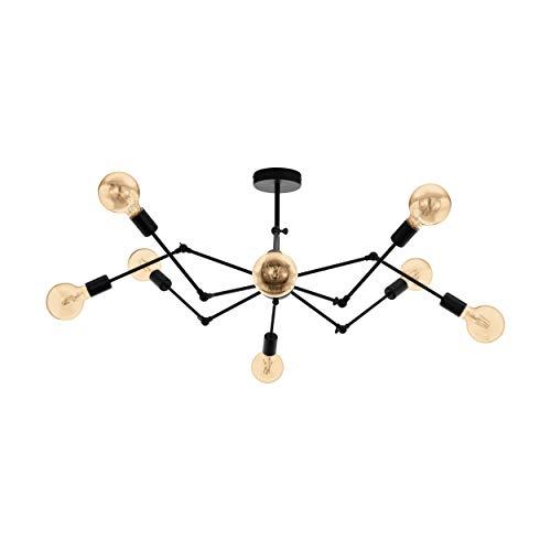 EGLO Plafonnier Exmoor - 8 ampoules - Vintage - Industriel - Rétro - Lampe de salon en acier noir - Lampe de cuisine - Plafonnier avec douille E27