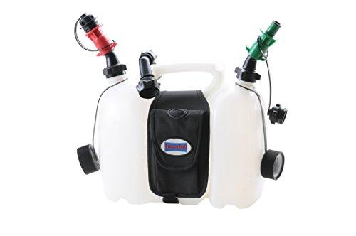 hünersdorff PROFI Doppelkanister / Kombikanister für Kraftstoff und Öl mit Satteltasche und zwei Einfüllsystemen, 6 + 3 Liter, UN-Zulassung, Made in Germany
