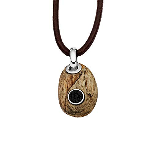 Anhänger Holzkiesel oval aus echtem Treibholz – Unikat | Lavasand - klein | Fassung aus 925 Sterling Silber | Charm P3131