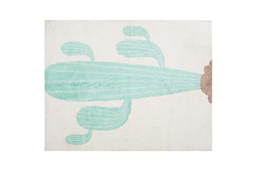 Aratextile. Tapis pour enfant 100% coton lavable en machine collection cactus 120 x 160 cm