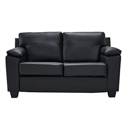 Panana Modern 2 Seater or 3 Seater Faux Leather Brown Sofa Armchair Couch Settee Living Room Furniture (Black, 2 Seater)