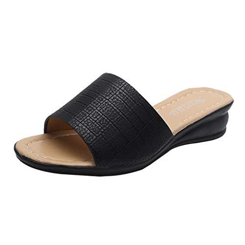 Sandalen Damen Sommer Slipper Große Größen Wedges Schuhe Slip-On Freizeitschuhe Open Toe Hausschuhe rutschfeste Atmungsaktive Strandschuhe, Schwarz, 39.5 EU