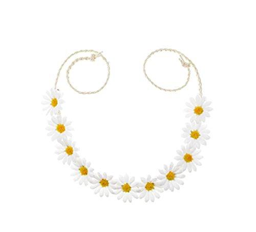 Floral Fall Sonnenblumenkrone, Haarkranz, Braut-Kopfschmuck, Festivals, Haarband - Weiß - Medium