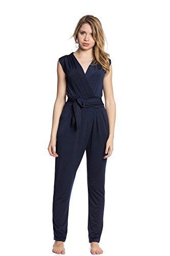 Abbino 8224 Overall para Mujer - Hecho en Italiano - 4 Colores - Cómodo Atractivas Moda Entretiempo Otoño Invierno Mujer Elegante Suave Venta Diseño Casual Fiesta - Azul Marino - S 34