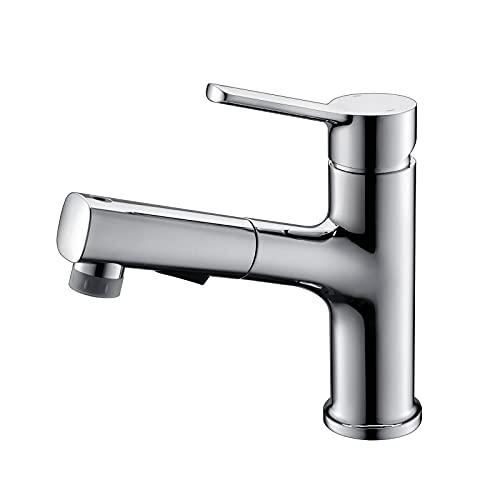 HNBMC Grifo de Lavabo de baño, extraíble y retráctil Faucet de Cuenca fría y Caliente de Tres Funciones,Cromo