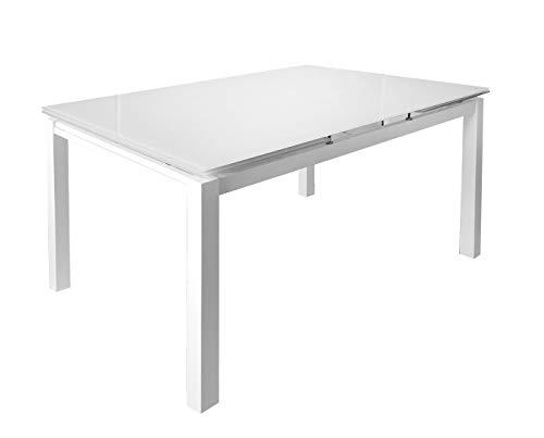 Meubletmoi Table de Repas Extensible 120/200 cm rectangulaire Compact Plateau Verre Blanc - Design Contemporain - Angela