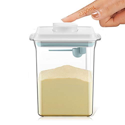 2.3L Luftdichte Milchpulver-Spender, Tragbarer Milchpulver-Kasten, Milchpulver Behälter mit Löffel, Einhandbedienung, Abnehmbar, zur Aufbewahrung von Baby Milchpulver, Obst und Lebensmitteln