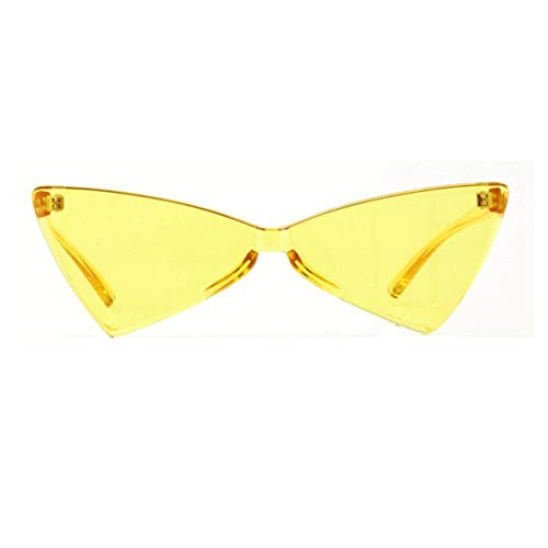 OLINOWL Triangle Rimless Sunglasses One Piece Colored Transparent Sunglasses For Women and Men Yellow triangle