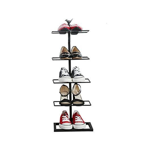 Cinq-couche chaussure rack fer forgé simple maison de stockage de chaussures rack économie simple armoire à chaussures,Black