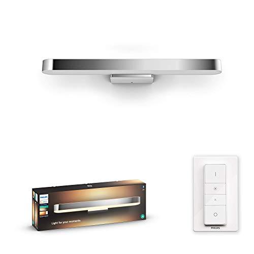 Philips Hue Adore - Aplique Inteligente LED gris para baño con Bluetooth, 40 W, Luz Blanca de Cálida a Fría, Compatible con Alexa y Google Home