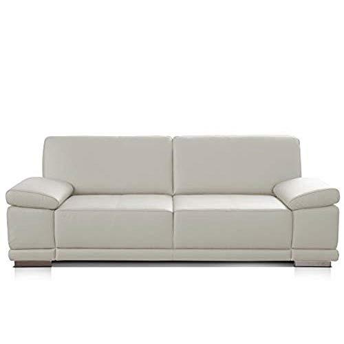 CAVADORE 3,5-Sitzer Sofa Corianne in Kunstleder / Großes Ledersofa in hochwertigem Kunstleder und modernem Design /Mit Armteilverstellung / 248 x 80 x 99 / Kunstleder weiß