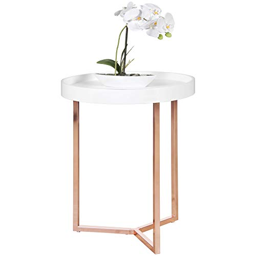 FineBuy Design Beistelltisch GIVE mit Tablett Weiß abnehmbar 40 cm Rund Kupfer | Couchtisch Holz | Wohnzimmertisch als Tabletttisch Modern