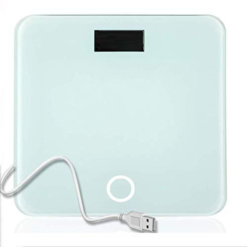 JKCKHA Alta precisión Digital báscula de baño, balanzas electrónicas con una amplia plataforma de cristal templado, Capacidad 180kg, de carga USB Cian