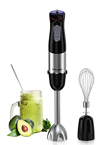homgeek Immersion Hand Blender,500W 6-Speed Stainless Steel Stick Blender with Egg Beater, for Soups, Sauces, Smoothies, Puree Infant Food, BPA-Free, Black