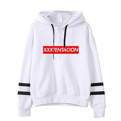 Kerlana Xxxtentacion Sweatshirts Lose Freizeit Mit Kapuze Pullover Klassischer Pullover Einfach gedrucktes Hoodies Sweatshirt Unisex (Color : White02, Size : M)