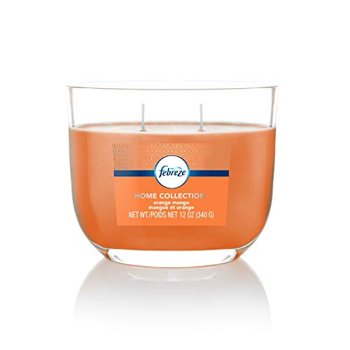 Febreze Home Collection Scented Oval Glass Jar Candle, Orange Mango, Soy Blend Wax, Orange, 12 Oz, Two Lead-Free Cotton Wicks, Single