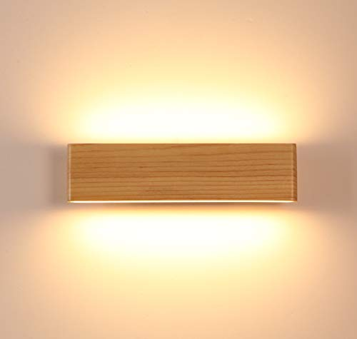 LED Wandleuchte holz,Moderne Wandlampe Holz Flurlampe Nachtlampe, Schlafzimmer Treppenhaus Flur Wandbeleuchtung Innenbeleuchtung (32CM)