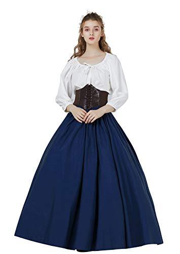 Falda Larga Mujer Algodón Vintage Falda Medieval Bohemio de Verano Renacentista Gitana Gótico Victoriana Cosplay Costume Ropa de Playa