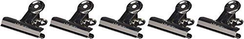 Maul Briefklemmer Metall, Breiter Verschlussclip 70 mm, Klemmweite 40 mm, Hohe Klemmkraft, Silber, 2177096, 5 Stück