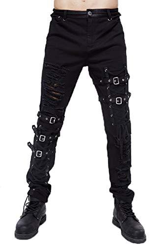 Devil Fashion Pantalones Hombre Steampunk Carga Flaco Tramo Regular Derecho...