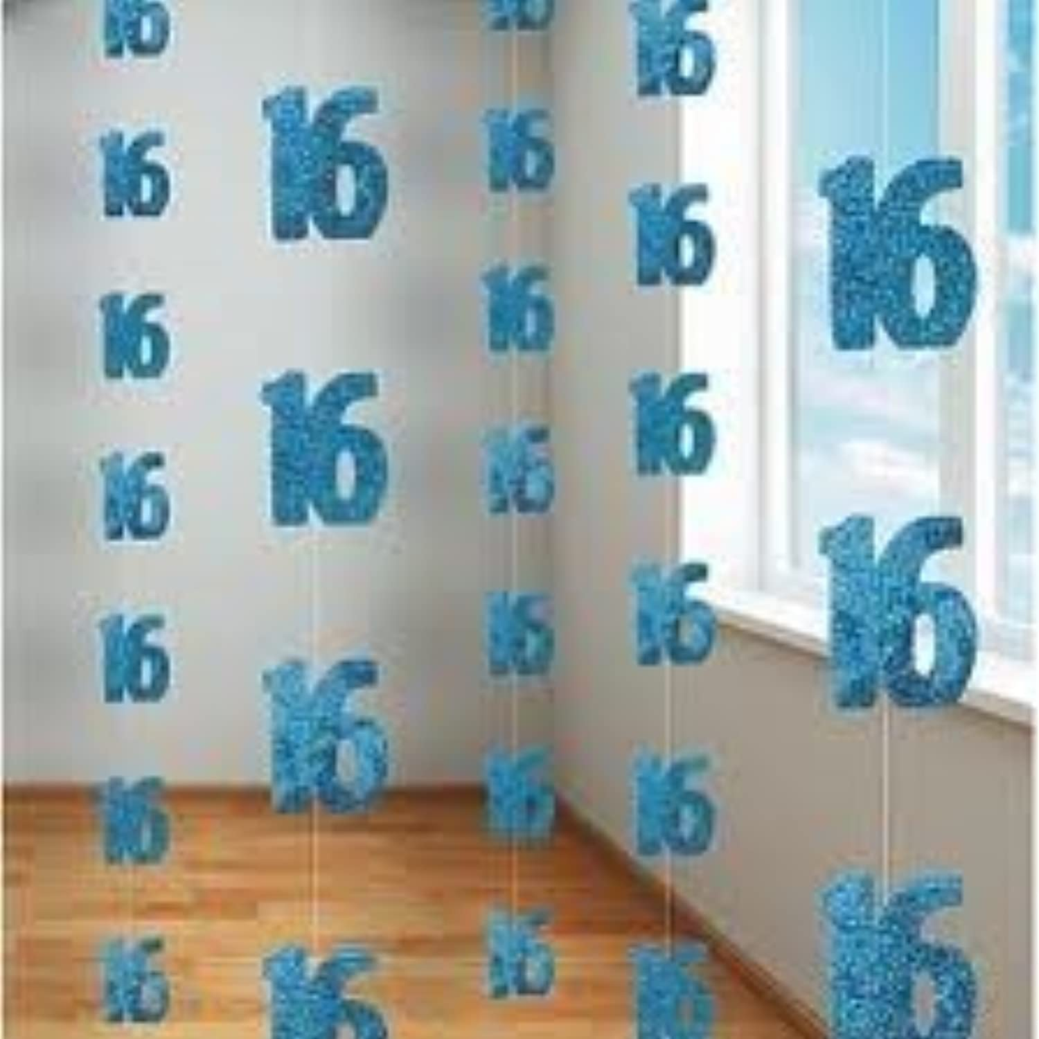 16TH BIRTHDAY HANGING DECORATION (NEW UNIQUE bluee hol) by Every-occasion-party-supplies