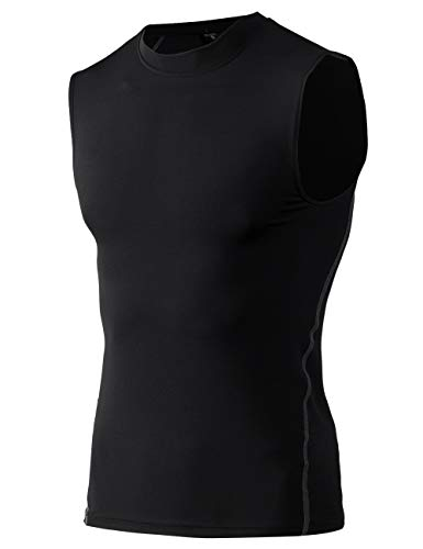 TOPTIE Mens Compression Sleeveless Base Layer, Athletic Workout T-Shirt-Black-S