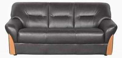 Godrej Interio PARTO Plus 3ST in S1N LTH BLA Leatherette 3 Seater Sofa (Finish Color - Black)