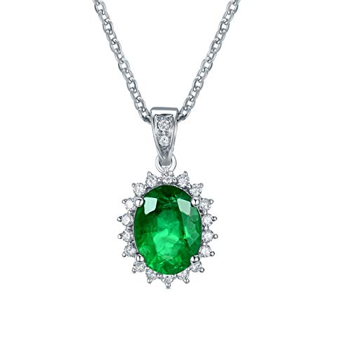 ButiRest Necklace Real Gold Pendant 18 Carat 750 White Gold with Oval Cut 1.98 Carat Green Emerald VS and 0.25 Carat Diamond