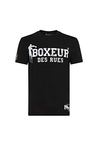 BOXEUR DES RUES - Black Roundneck Tshirt with White Logo, Man, Black, XXL