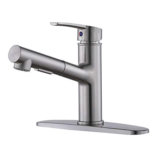 Kitchen Faucet,Kitchen Sink Faucet,Single Handle Brushed Nickel Pull Down Faucets,Modern Best Small Stainless Steel Sink Faucet,One Or Three Hole Pull Out Sprayer Kitchen Faucet with Deck Plate