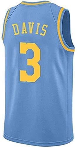XHDH Jersey De Baloncesto De Los Hombres, NBA Lakers # 3 Davis Jersey Uniformes Transpirables Chaleco Capacitación Sin Mangas Ropa Deportiva,Azul,S 165~170cm