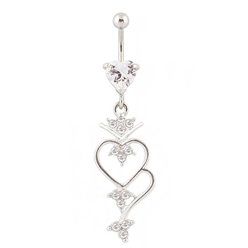 WOWOHE Belly Button Rings - Navel Rings Double Hearts Dangling Surgical Steel Summer Belly Rings 14G Body Piercing Jewelry