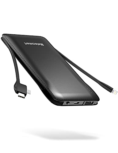 Cell Phone External Battery Packs TG90 10000mAh Power Bank with Built in Lightning Cable Portable Charger Battery Backup Compatible with iPhone Android Phone Power Packs
