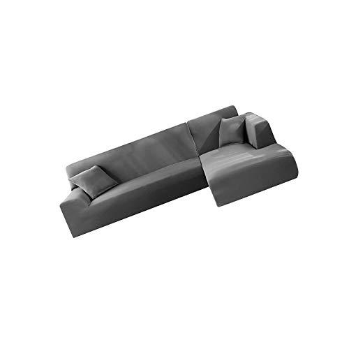 YuuHeeER 2 pezzi copridivani a forma di L copriangoli elasticizzati antiscivolo in tessuto di poliestere grigio 2 posti