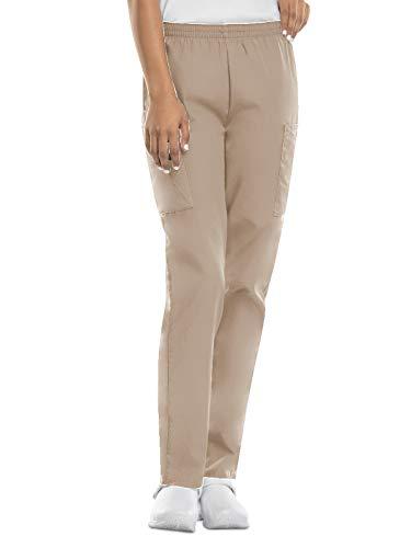 CHEROKEE Women's Workwear Elastic Waist Cargo Scrubs Pant, Khaki, Medium