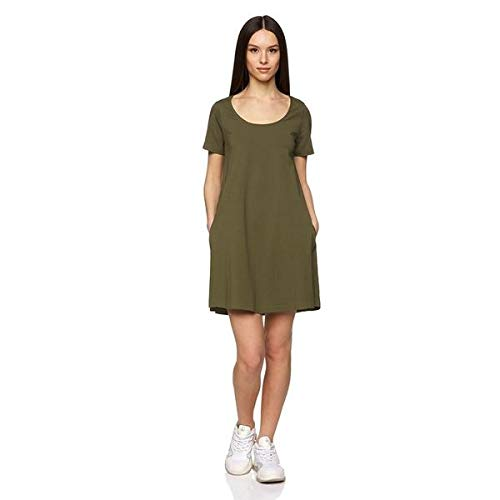 Benetton Vestito Vestido, Verde (Olive Night 35a), Small para Mujer