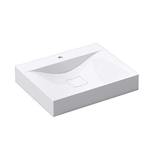 Waschbecken Col810 Hänge-Waschtisch Aufsatz-Waschschale Mineralguss Weiß 1 Armaturenloch recht-eckig Breite: 60 cm …