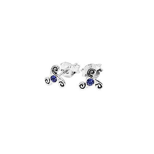NKlaus PAAR 925 STERLINGSILVER Celtic Gothic ear studs Triskel Blue crystal 7060