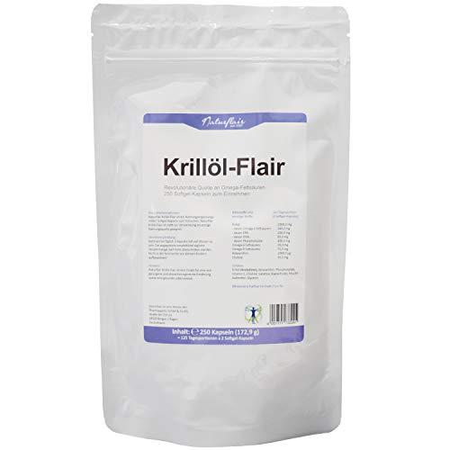 Krill Öl - 250 Kapseln - 1500 mg pro Tagesportion - Reich an EPA + DHA + Astaxanthin + Phospholipide + Omega 3 Fettsäuren - Laborgeprüftes Antarktis Krillöl - Hochdosiert - Premium Qualität