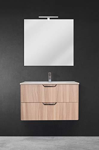 OrionShop Mobile Bagno Sospeso Gemini da 80cm Rovere Naturale con Lavabo Specchio e Lampada LED Inclusi