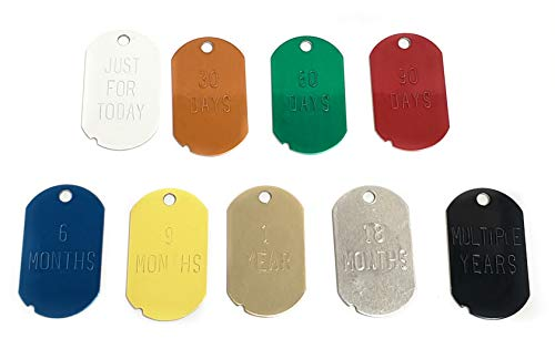 Narcotics Anonymous (N.A.) Recovery Key Tags - Military Dog Tags with Custom Home Group Name. (Packs of 100 or 200 Tags in one Color, or Full Set of 1,000 Tags)