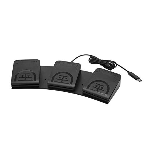 iKKEGOL Upgraded USB Triple Foot Pedal Switch Control 3 Three Key Footswitch Program Customized Computer Keyboard Mouse Game Action HID
