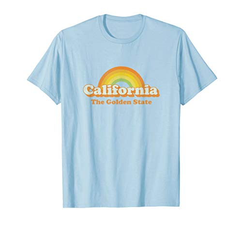 Retro California T Shirt Vintage 70s Rainbow Tee Design